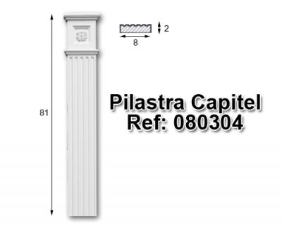 Pilastra capitel librería 8x80